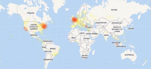 Imagem - Mapa de calor da instabilidade com os problemas que ocorreram no dia 13/03/2019 no Facebook